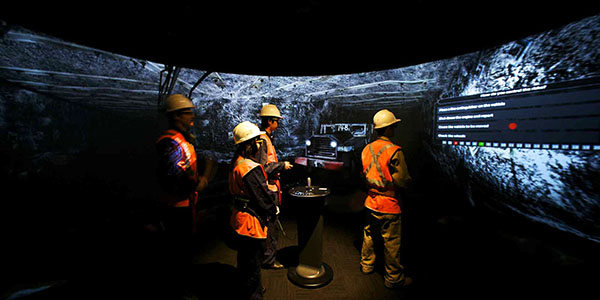 miners working on simulating their mining site